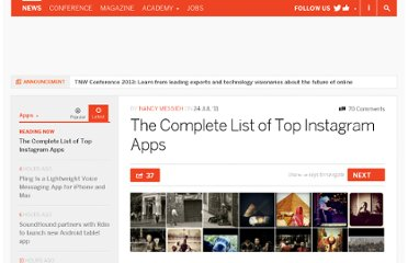 http://thenextweb.com/apps/2011/07/24/the-complete-list-of-top-instagram-apps/