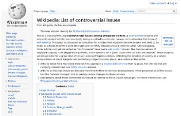 http://en.wikipedia.org/wiki/Wikipedia:List_of_controversial_issues
