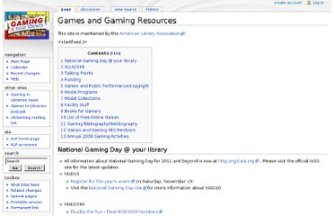 http://gaming.ala.org/resources/index.php?title=Games_and_Gaming_Resources