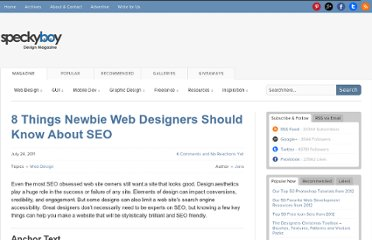 http://speckyboy.com/2011/07/24/8-things-newbie-web-designers-should-know-about-seo/