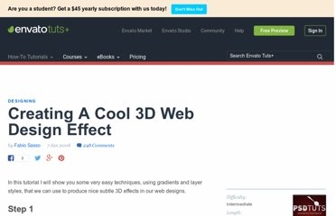 http://psd.tutsplus.com/tutorials/designing-tutorials/creating-a-cool-3d-web-design-effect/
