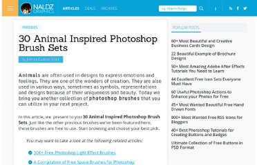 http://naldzgraphics.net/freebies/30-animal-inspired-photoshop-brush-sets/