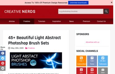 http://creativenerds.co.uk/freebies/45-beautiful-light-abstract-photoshop-brush-sets/