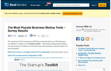 http://blog.bestvendor.com/2011/07/survey-results-the-startups-toolkit/