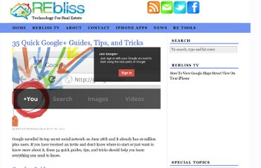 http://rebliss.com/blog/2011/07/18/35-quick-google-guides-tips-and-tricks/
