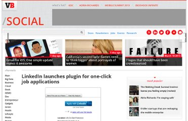 http://venturebeat.com/2011/07/25/linkedin-launches-plugin-for-one-click-job-applications/