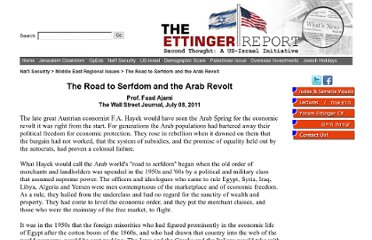 http://www.theettingerreport.com/Jerusalem-Cloakroom/Middle-East-Regional-Issues/The-Road-to-Serfdom-and-the-Arab-Revolt.aspx