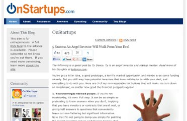 http://onstartups.com/tabid/3339/bid/61147/5-Reasons-An-Angel-Investor-Will-Walk-From-Your-Deal.aspx