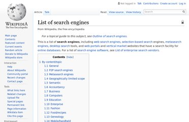 http://en.wikipedia.org/wiki/List_of_search_engines
