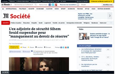 http://www.lemonde.fr/societe/article/2011/07/26/une-ex-adjointe-de-securite-suspendue-pour-manquement-au-devoir-de-reserve_1553087_3224.html#xtor=RSS-3208?utm_source=twitterfeed&utm_medium=twitter