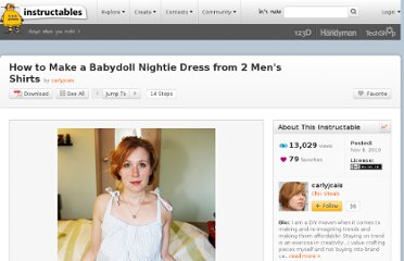 http://www.instructables.com/id/How-to-Make-a-Babydoll-Nightie-Dress-from-2-Mens-/