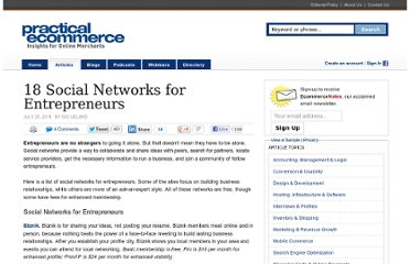 http://www.practicalecommerce.com/articles/2932-18-Social-Networks-for-Entrepreneurs
