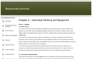 http://www.backcountrysurvival.com/fm-31-70/cold-weather/individual-clothing-and-equipment.shtml