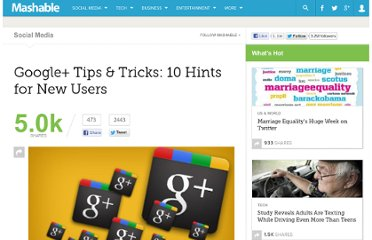 http://mashable.com/2011/07/26/google-plus-tips-tricks/#214353-Click-on-Profile-Pics-to-Scroll-Through