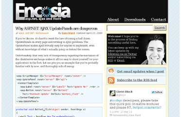 http://encosia.com/why-aspnet-ajax-updatepanels-are-dangerous/