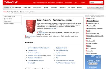 http://www.oracle.com/technetwork/indexes/products/index.html