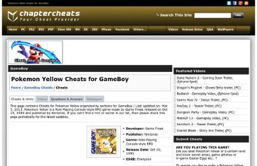 http://www.chaptercheats.com/cheats/gameboy/609/Pokemon-Yellow-Cheats.htm