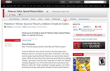 http://www.ign.com/cheats/games/pokemon-yellow-special-pikachu-edition-gb-12045