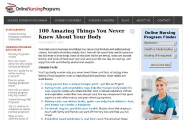 http://www.onlinenursingprograms.net/100-amazing-things-you-never-knew-about-your-body/