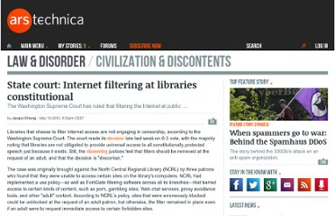 http://arstechnica.com/tech-policy/news/2010/05/state-court-internet-filtering-at-libraries-constitutional.ars