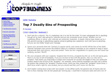 http://top7business.com/?Top-7-Deadly-Sins-of-Prospecting&id=323