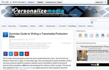 http://www.personalizemedia.com/dummies-guide-to-writing-a-transmedia-production-bible/