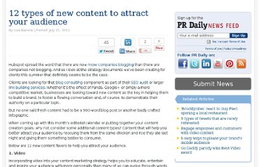 http://www.prdaily.com/Main/Articles/12_types_of_new_content_to_attract_your_audience__8969.aspx?format=2