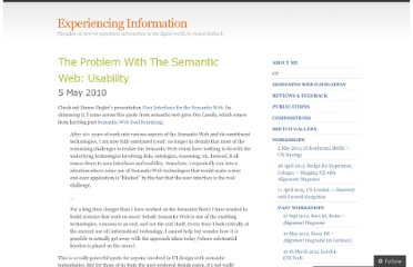 http://experiencinginformation.wordpress.com/2010/05/05/the-problem-with-the-semantic-web-usability/