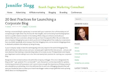 http://www.jenniferslegg.com/2007/03/29/20-best-practices-for-launching-a-corporate-blog/