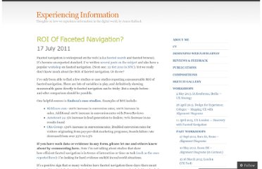 http://experiencinginformation.wordpress.com/2011/07/17/roi-of-faceted-navigation/