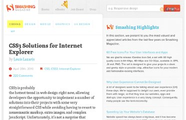 http://coding.smashingmagazine.com/2010/04/28/css3-solutions-for-internet-explorer/