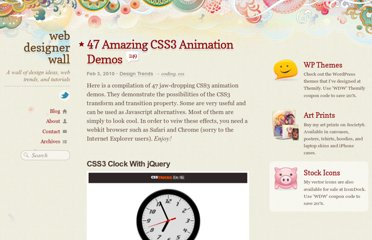 http://webdesignerwall.com/trends/47-amazing-css3-animation-demos