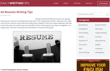 http://www.dailywritingtips.com/resume-writing-tips/