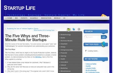http://www.startuplifeblog.com/2010/06/15/the-five-whys-and-three-minute-rule-for-startups/