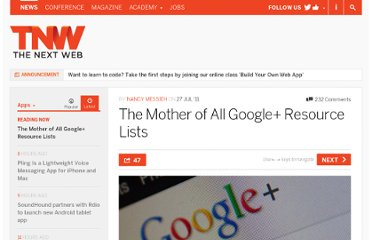 http://thenextweb.com/apps/2011/07/27/the-mother-of-all-google-resource-lists/