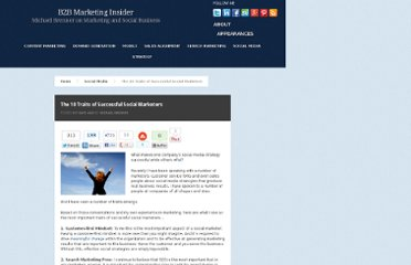 http://www.b2bmarketinginsider.com/social-media/the-10-traits-of-successful-social-marketers