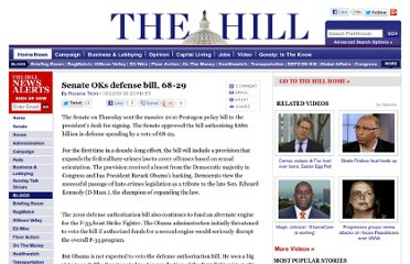 http://thehill.com/homenews/senate/64377-senate-to-vote-on-defense-bill#,