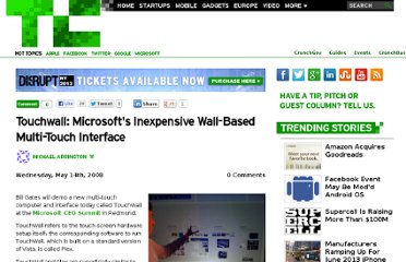 http://techcrunch.com/2008/05/14/microsoft-touchwall-can-inexpensively-turn-any-flat-surface-into-a-multi-touch-display/