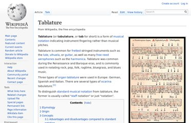 http://en.wikipedia.org/wiki/Tablature