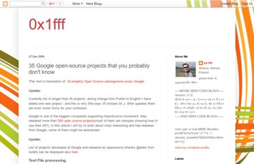 http://blog.0x1fff.com/2009/12/35-google-open-source-projects-that-you.html