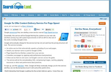http://searchengineland.com/google-to-offer-content-delivery-service-for-page-speed-87437