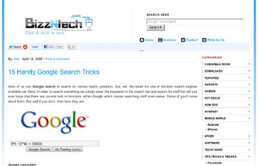 http://www.bizzntech.com/2008/04/14/15-handy-google-search-tricks