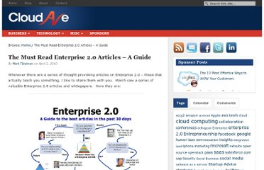 http://www.cloudave.com/571/the-must-read-enterprise-2-0-articles-a-guide/