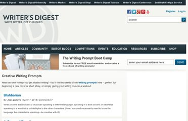 http://www.writersdigest.com/prompts