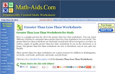 http://www.math-aids.com/Greater_Than_Less_Than/