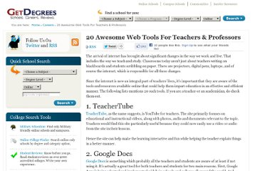 http://www.getdegrees.com/careers/_20-awesome-web-tools-for-teachers-professors/