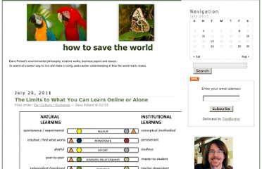 http://howtosavetheworld.ca/2011/07/29/the-limits-to-what-you-can-learn-online-or-alone/