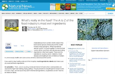 http://www.naturalnews.com/033162_food_ingredients_chemicals.html