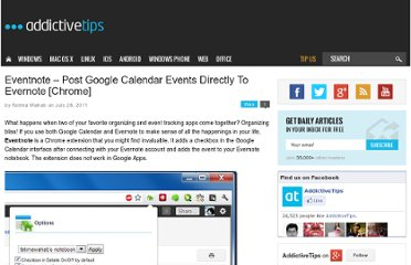 http://www.addictivetips.com/internet-tips/eventnote-post-google-calendar-events-directly-to-evernote-chrome/