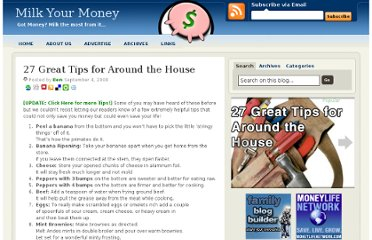 http://milkyourmoney.com/2008/09/04/27-great-tips-for-around-the-house/